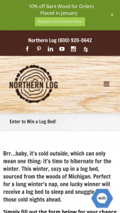 Northern Log Supply – Win A Log Bed – Win one queen