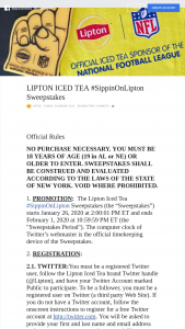 Pepsi Lipton Iced Tea – #sippinonlipton – Win an IRS Form 1099 for tax for the value of the prize