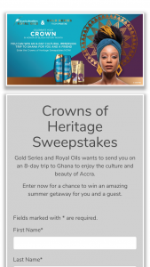 Procter & Gamble – Crowns Of Heritage – Win An 8-day/7-night trip to Ghana for the winner and one (1) travel companion