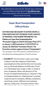 Procter & Gamble – Gillette Super Bowl Sweepstakes