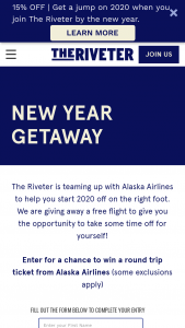 Riveter – New Year Getaway Sweepstakes