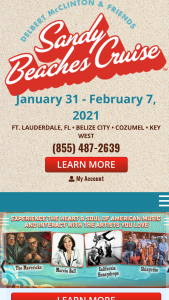 Sandy Beaches – 2021 Cruise Giveaway – Win a trip for two for the Grand Prize Winner and one guest on board The Sandy Beaches Cruise between January 17 2021 and January 24 2021.