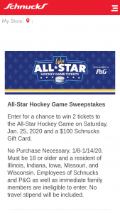 Schnucks – All-Star Hockey Game – Win two (2) tickets for winner and one (1) guest to attend the NHL All Star Hockey Game at Enterprise Center