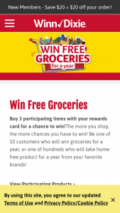 "Se Grocers – Winter – Win ""groceries for a year"" awarded as fifty-two (52) $100 gift cards to Sponsor's stores (""Prize"")."