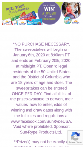 Sunrype – Fuel Your Family Fitness Sweepstakes