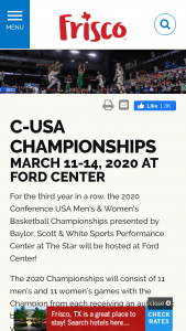 Visit Frisco – 2020 C-USA Hoops At The Star Sweepstakes