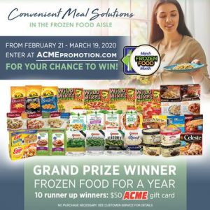 ACME Markets – Win a grand prize of Frozen food for a year OR 1 of 10 minor prizes