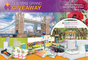 American Quilters Society – Win a major prize package valued at $8,600 OR 1 of 4 minor prizes
