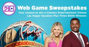 Game Show Network – Catch 21 Web Game – Win a grand prize of a trip for 4 days to Las Vegas OR 1 of 3 weekly prizes of a $500 gift card each