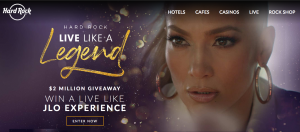 Hard Rock Cafe – Win a grand prize of a trip for 2 to Hollywood for a Live Like JLO Experience valued at up to $100,000 OR 1 of 165 minor prizes