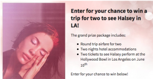 Premiere Networks – Win a 3-day trip for 2 to see Halsey in concert in Los Angeles