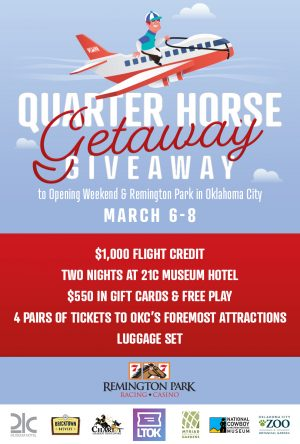 Remington Park – Win a trip for 2 to Remington Park in Oklahoma City PLUS gift card + tickets + luggage set
