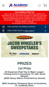 Academy Sports – Jacob Wheeler's Sweepstakes