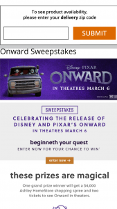 Ashley Homestore – Celebrating The Release Of Disney And Pixar's Onward Sweepstakes
