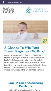 Buybuy Baby – Registry – Win BABY Gift Cards