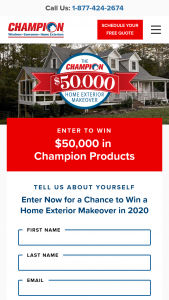 Champion Windows – Home Exteriors $50000 2020 Giveaway – Win $50000 worth of Champion Windows and Home Exteriors products