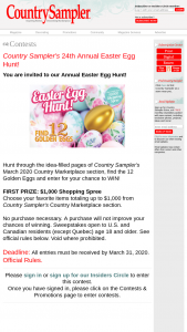 Country Sampler – Easter Egg Hunt 2020 – Win Spree through Country Sampler's Country Marketplace section value of $1000.00.