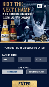 """Crown Imports – 2020 Modelo Ufc Spring – Win companion during UFC International Fight Week (""""IFW"""") on dates to be specified by Sponsor"""