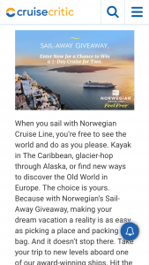 Cruise Critic – Sail-Away Giveaway – Win a seven (7) day Cruise for two (2) on Norwegian Cruise Line