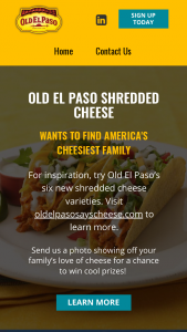 Crystal Farms – Old El Paso's America's Cheesiest Family Photo – Win 4-day/3-night trip for the winner and three (3) travel companions to Yellowstone National Park in Wyoming