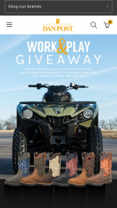 Dan Post – Work & Play Giveaway – Win a brand-new 2020 Can-Am Outlander 570 ATV and a pair of Dan Post Hurricane Boots of their choosing