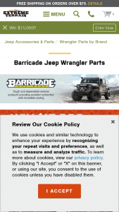 Extreme Terrain Barricade – $15000 – Win $15000.00 in credit to use for the purchase of any parts and accessories available at extremeterraincom