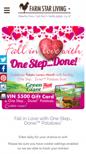 Farm Star Living – Fall In Love With One Step…done Potatoes Sweepstakes