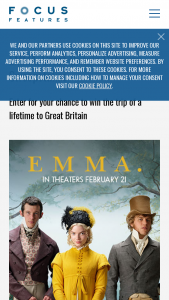 Focus Features – Emma Great Britain Getaway Sweepstakes