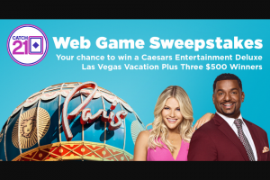 Game Show Network – Catch 21 Web Game – Win Weekly Sweepstakes).