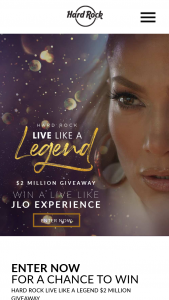 Hard Rock Cafe – Live Like A Legend $2 Million Giveaway – Win of a Live Like JLO Experience which includes a trip for two to Hollywood Florida