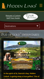 Hidden Links – Pot Of Gold – Win a golf vacation to Northern Ireland