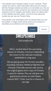 Intel – Gaming Access Chivalry 2 Bundle – Win Chivalry Medieval Warfare upon being notified that they won and then will receive a code for Chivalry 2 after the release of the game