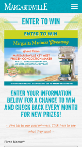 Margaritaville – Margarita Madness Giveaway – Win of  (a) Margaritaville Key West Frozen Concoction Maker with Salt Rimmer and Serving Try and (b) $100 Margaritaville Gift Card