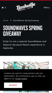 Nashville Convention & Visitors Corp – 2020 Gaylord Opryland Soundwaves Spring Giveaway Sweepstakes
