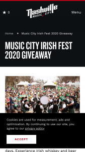 Nashville Convention & Visitors Corp – Music City Irish Fest 2020 Giveaway Sweepstakes