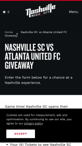 Nashville's Convention & Visitors Corp – Nashville Sc Vs Atlanta United Fc Giveaway Sweepstakes