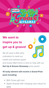 Ocean Mist Farms – Get Up & Groove Giveaway – Win one $50 iTunes gift card