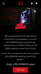 "Origin PC – New Blood Millenium Giveaway – Win to 1 winner only consisting of 1 ORIGIN PC MILLENNIUM Desktop (the ""Grand Prize"") Total approximate retail value (""ARV"") of all Grand Prizes is $2760."