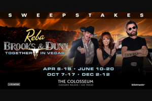 "Premiere Networks – Reba Brooks & Dunn Together In Vegas – Win day/two (2) night trip for Winner and one (1) guest (together the ""Attendees"") to attend the residency show REBA BROOKS & DUNN Together in Vegas in Las Vegas Nevada (the ""Concert"")."