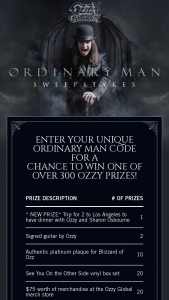 Sony Music – Ozzy Ordinary Man – Win a trip for Winner and one guest to have dinner with Ozzy and Sharon Osbourne