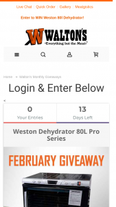 Walton's – February Giveaway Sweepstakes