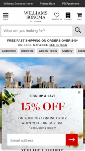 Williams Sonoma – Win A Trip To Ireland – Win verification of eligibility and compliance with these Official Rules lodging and airfare