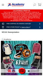 Academy Sports  Outdoor – Own The Shot – Win 1 Champion Package 1 Logo Brands Canopy Tent 2 Logo Brands Chairs 1 Logo Brands Table 2 Colosseum Gift Bags 2 Colosseum Tops 1 Victory Tailgate Shootout Game