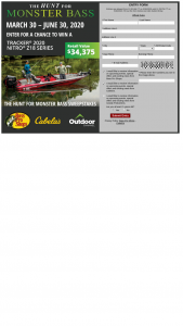 "Bass Pro Shops And Cabela's And Outdoorchannel – 2020 ""hunt For Monster Bass"" – Win Nitro Z18 with Mercury 150 Pro XS valued at approximately $34375."