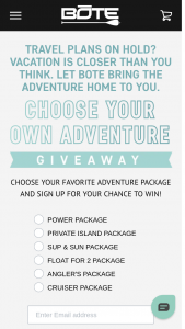 Bote – Choose Your Adventure Giveaway Sweepstakes