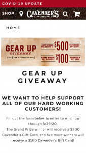 Cavender's – Gear Up Giveaway – Win a $500 Cavender's gift card and five (5) runner-up winners will be chosen to receive a $100 Cavender's gift card