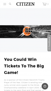 Citizen Watch – Slam Dunk – Win for two persons to attend the NCAA 2020 semi-final and championship basketball games