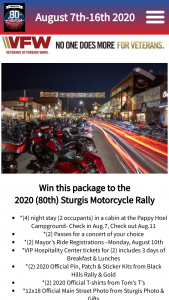 City Of Sturgis – Sturgis Motorcycle Rally Sweepstakes