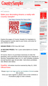 Country Sampler – 2020 VISA Gift Card Giveaway – Win Gfit Card value of $750.00.