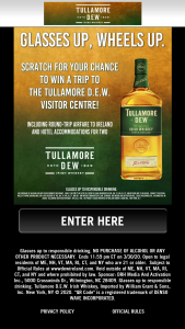 Drh Media Tullamore – Dew Flyaway – Win trip airfare for two hotel accommodations for two a VIP Tullamore DEW Visitor Centre tour (Curious Tasters Tour) and lunch (up to 50 Euros) for two